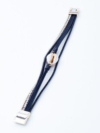 Czarna bransoletka na magnez z muszelką