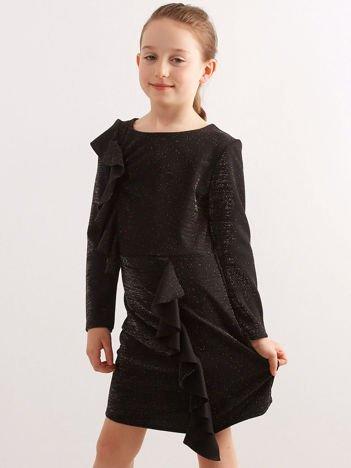 Czarna brokatowa sukienka dziecięca z falbanami