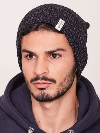 Czarna czapka męska melanżowa