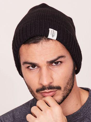 Czarna czapka zimowa męska