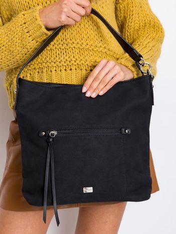 Czarna damska torba na ramię z ekoskóry