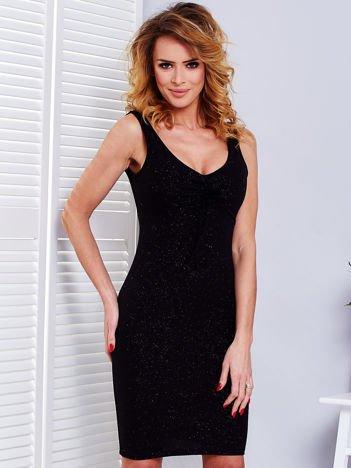 Czarna dopasowana sukienka z wiązaniem