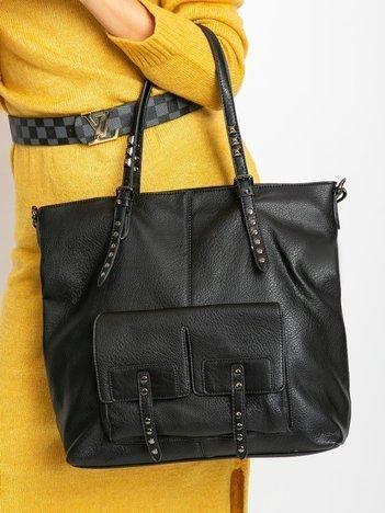 Czarna duża torba z ekologicznej skóry