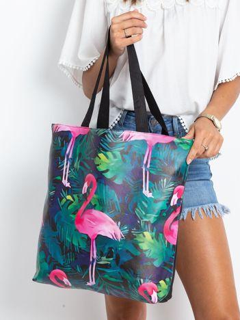 Czarna duża torba z flamingiem