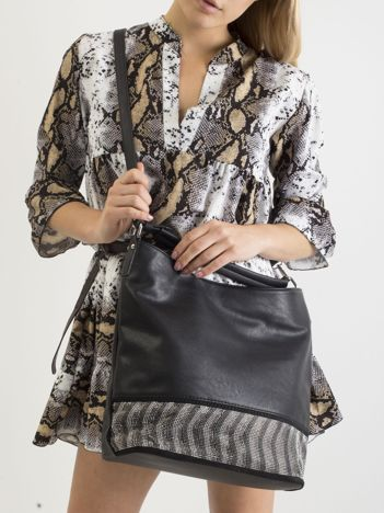 Czarna duża torba ze skóry ekologicznej