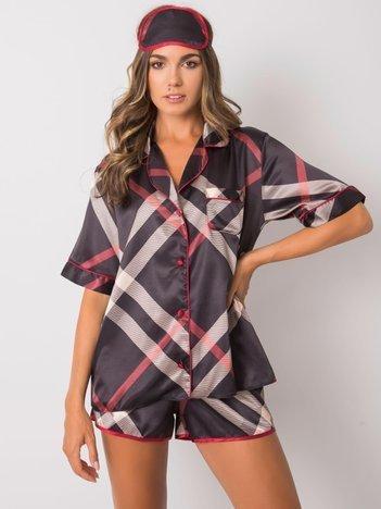 Czarna dwuczęściowa piżama w kratę