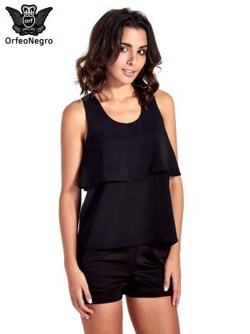Czarna dwuwarstwowa bluzka koszulowa