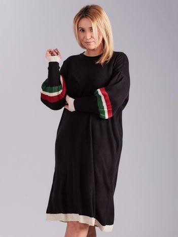 Czarna dzianinowa sukienka PLUS SIZE
