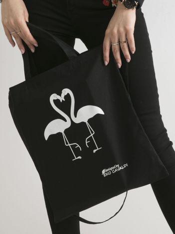 Czarna eko torba z nadrukiem flamingów