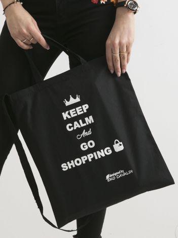 Czarna eko torba z napisem KEEP CALM AND GO SHOPPING