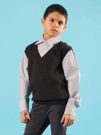 Czarna elegancka bluza chłopięca z koszulą