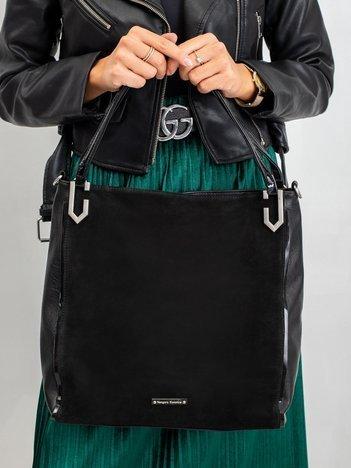 Czarna elegancka torebka z eko zamszem