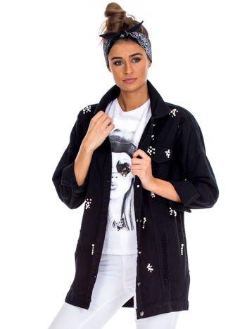 Czarna jeansowa kurtka z perełkami