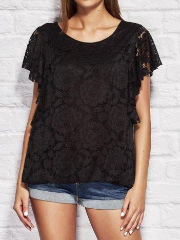 Czarna koronkowa bluzka damska
