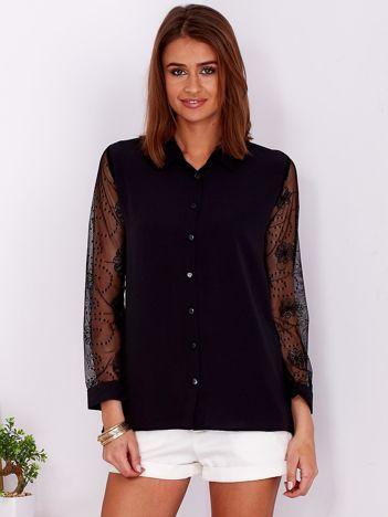 Czarna koszula damska z koronkowymi rękawami