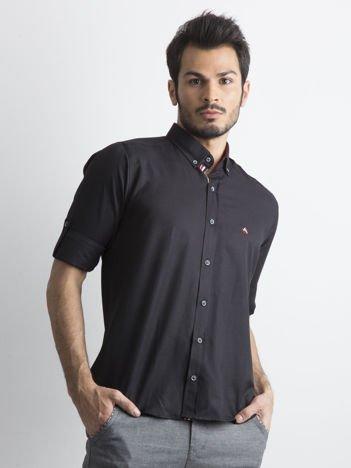 Czarna koszula męska regular fit z podwijanymi rękawami