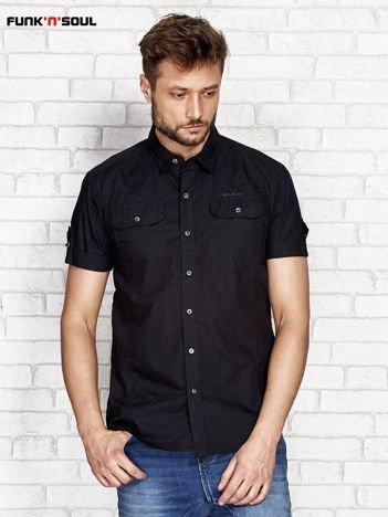 Czarna koszula męska z kieszeniami FUNK N SOUL