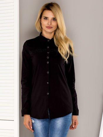 Czarna koszula z aplikacją z dżetów