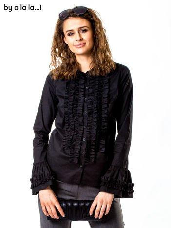 Czarna koszula z żabotem BY O LA LA