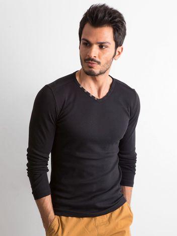 Czarna koszulka męska z długim rękawem