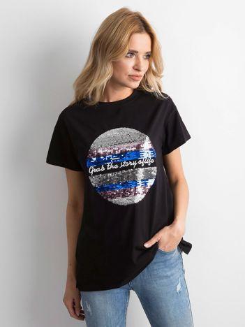 Czarna koszulka z cekinami