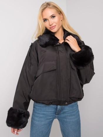 Czarna kurtka z futerkiem Zohra