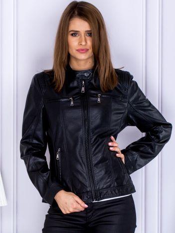 Czarna kurtka ze skóry ekologicznej z suwakami