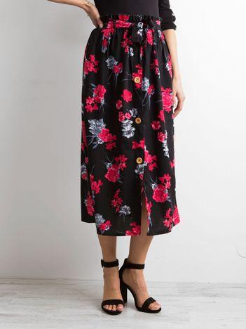 Czarna kwiatowa spódnica midi