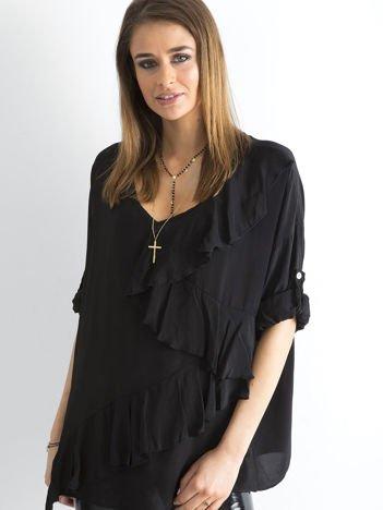 Czarna luźna bluzka z asymetryczną falbaną
