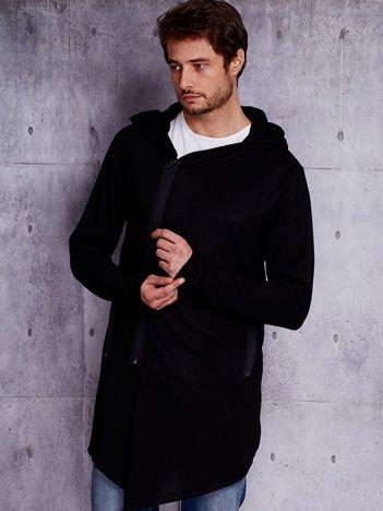 Czarna melanżowa bluza męska z asymetrycznym suwakiem