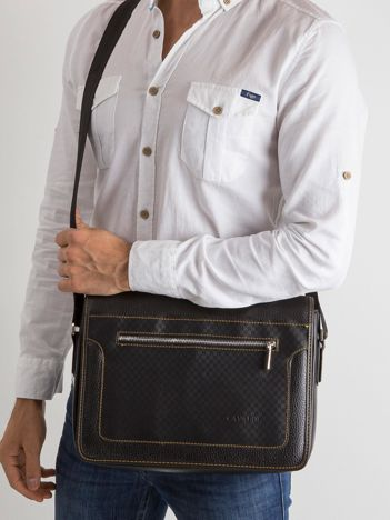 Czarna męska torba z ekoskóry z klapką