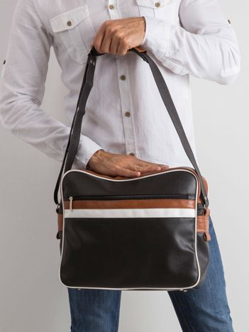 Czarna męska torba ze skóry ekologicznej