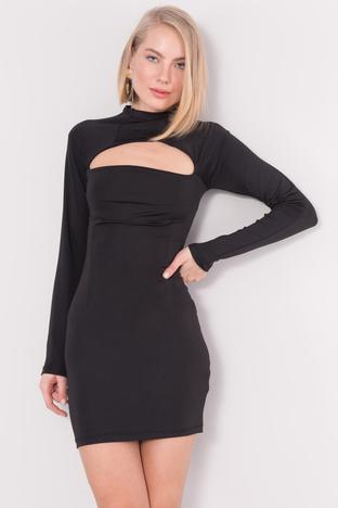 Czarna obcisła sukienka mini z wycięciem BSL