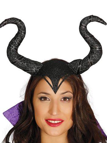 Czarna opaska z rogami Zła Czarownica