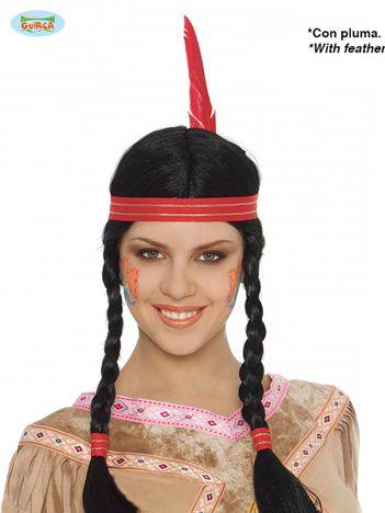 Czarna peruka Indianka