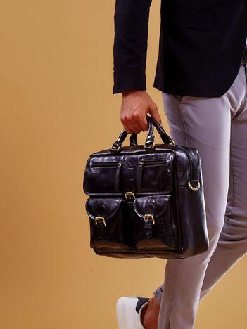 Czarna skórzana torba męska z odpinanym paskiem