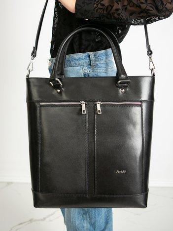 Czarna skórzana torba z paskiem