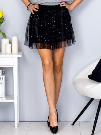 Czarna spódnica tiulowa z błyszczącymi groszkami