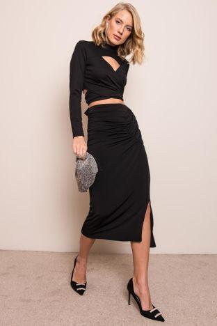 Czarna spódnica z drapowaniem BSL