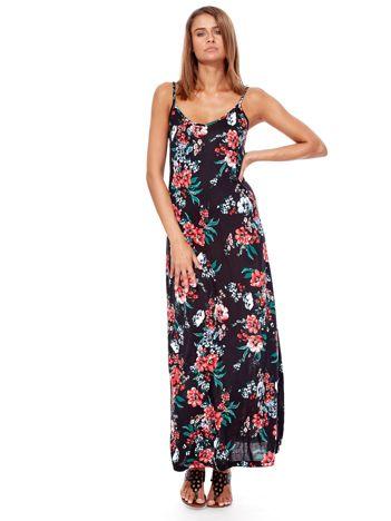 Czarna sukienka maxi na ramiączkach w kwiaty