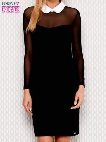 Czarna sukienka z kołnierzykiem i siateczkowymi rękawami