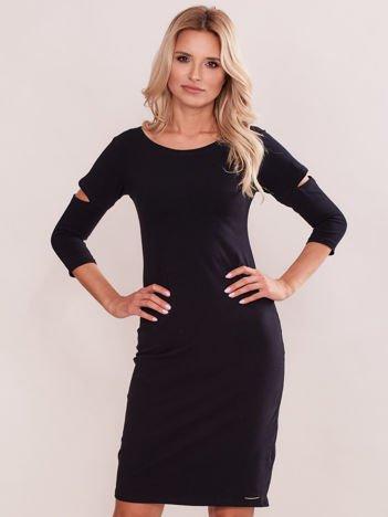 Czarna sukienka z wycięciami cut out