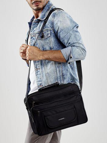 Czarna torba męska materiałowa z uchwytem