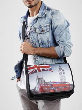 Czarna torba męska z brytyjskimi motywami