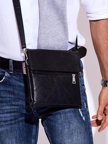 Czarna torba męska z kieszonką na suwak
