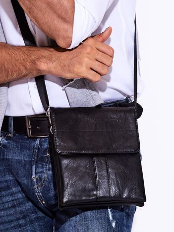 Czarna torba męska z odpinanym paskiem
