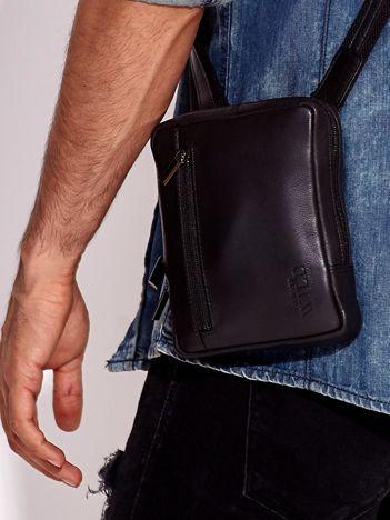 Czarna torba męska ze skóry naturalnej na ramię
