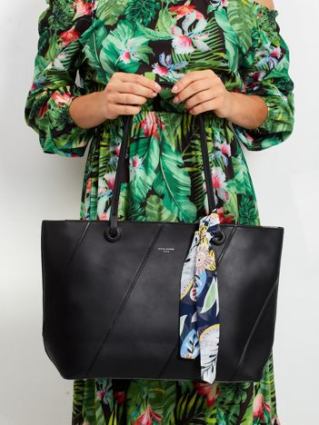 Czarna torba shopper bag z apaszką