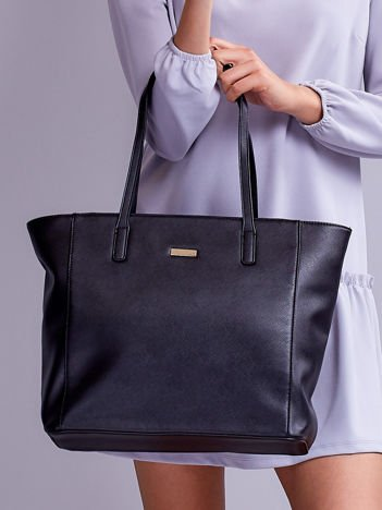 Czarna torba shopper ze wzorem saffiano