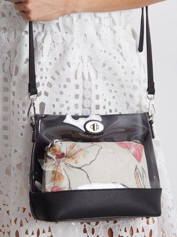 Czarna torebka z wyjmowaną kosmetyczką